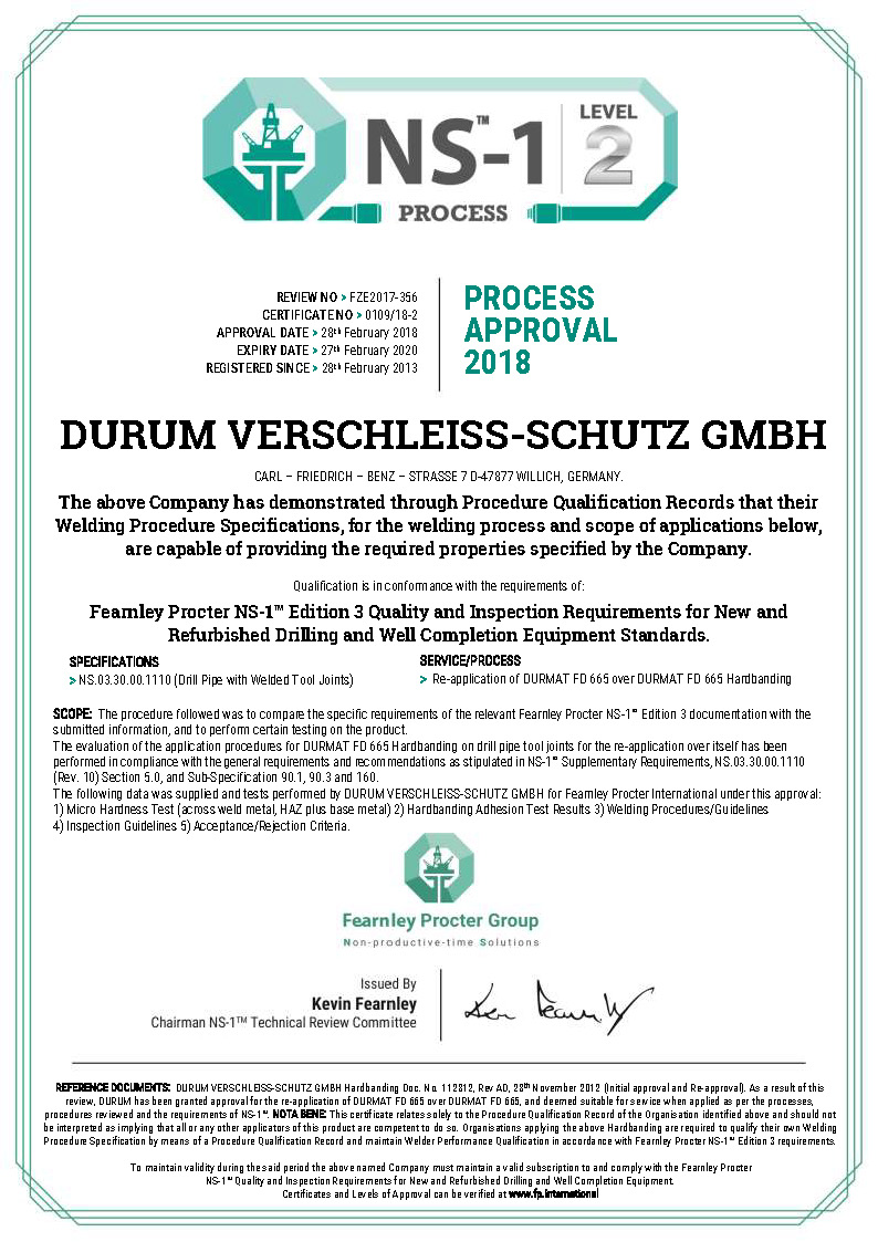 0109 - DURUM Process Level 2 Certificate Rev1
