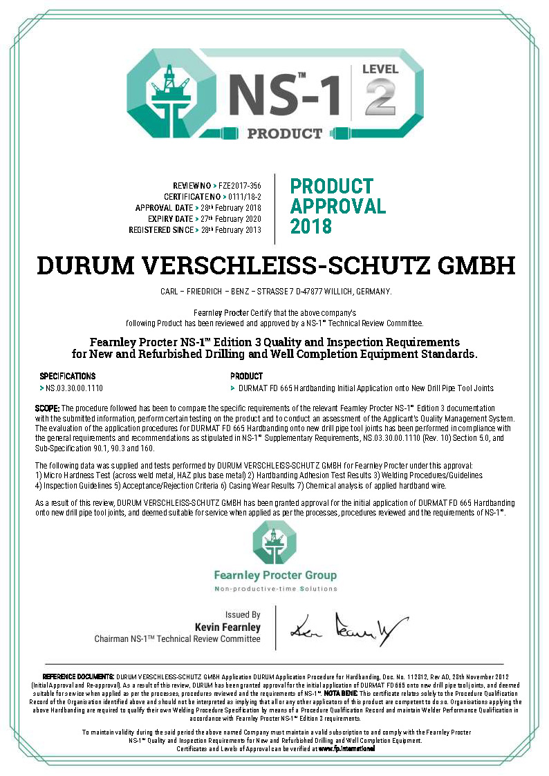 0111 - DURUM Product Level 2 Certificate Rev 1.docx