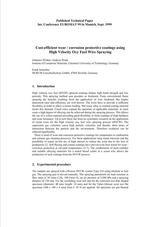 Cost efficient wear corrosion protective coatings using High Velocity Oxy Fuel Wire Spraying