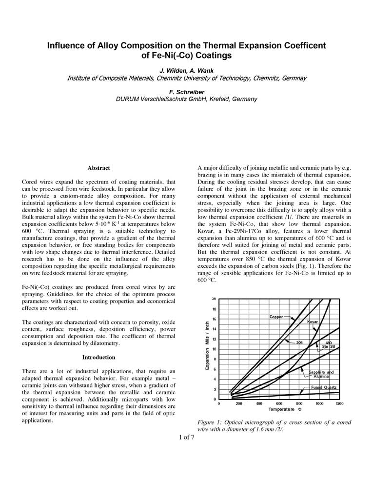 Influence of Alloy Composition on the Thermal Expansion Coefficient of Fe-Ni-Coatings